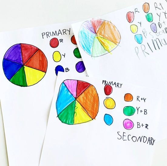 We learned about the color wheel in our art class today! Free art classes @studio80design!