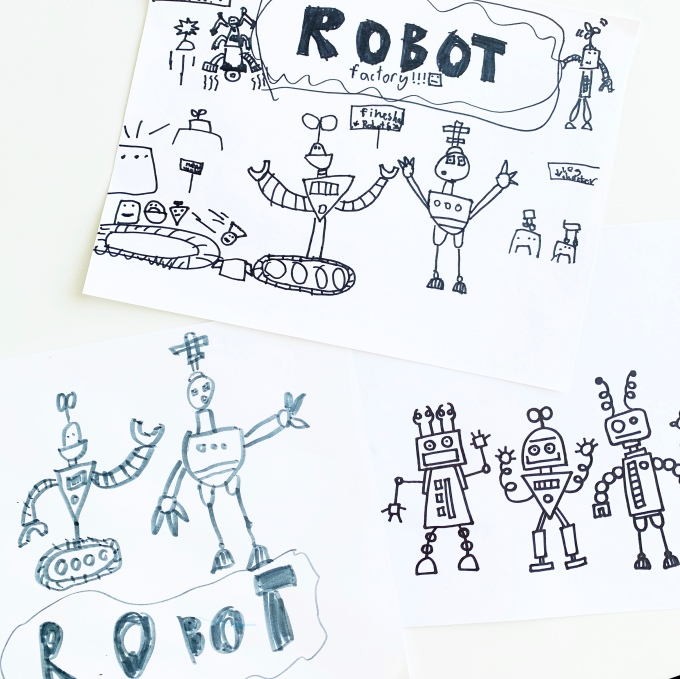 Build your own robot with this roll-the-dice game! Free art classes @studio80design!