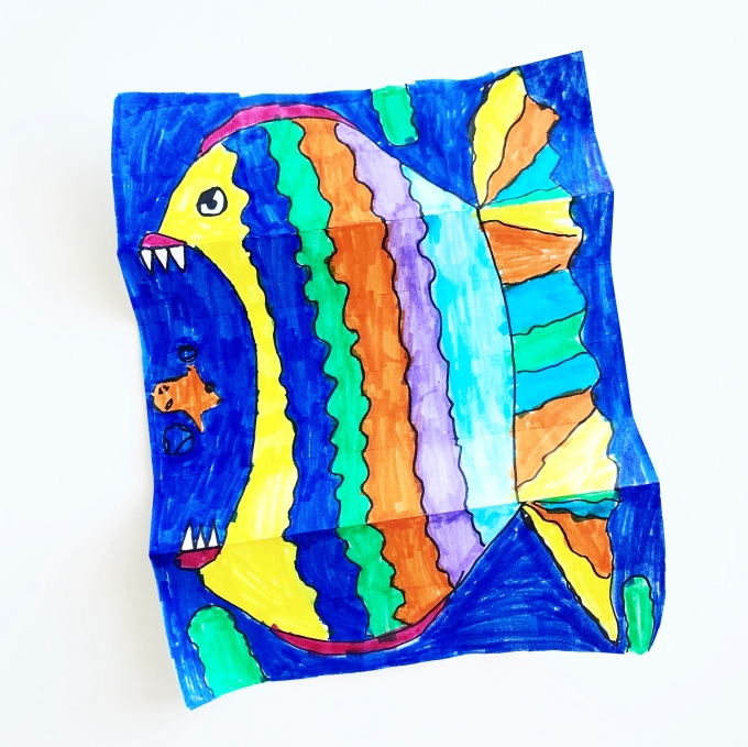 We made surprise fish drawings today! Free art classes @studio80deisgn